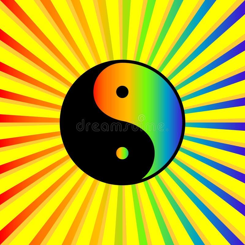 Arco iris Yin Yang ilustración del vector