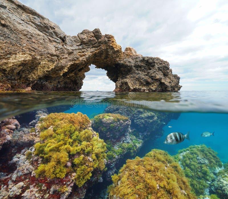 Arco natural de la formación de roca con las algas y los pescados bajo el agua fotos de archivo