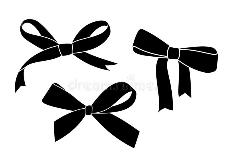 Arco negro del regalo de la silueta Ilustración del vector ilustración del vector