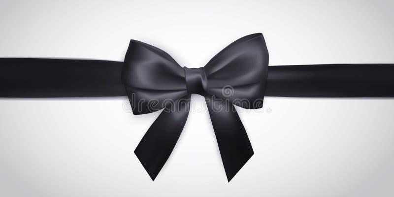 Arco nero realistico con il nastro isolato su bianco Elemento per i regali della decorazione, saluti, feste Illustrazione di vett illustrazione vettoriale