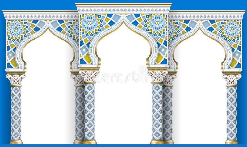 Arco oriental do mosaico Arquitetura cinzelada ilustração do vetor