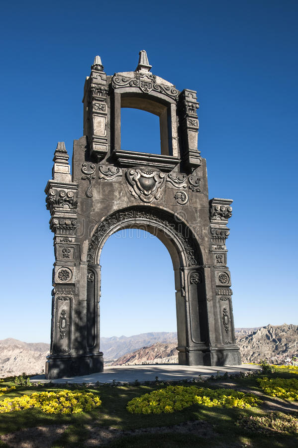 Arco ornamentado antigo Quilli, La Paz, Bolívia fotos de stock royalty free