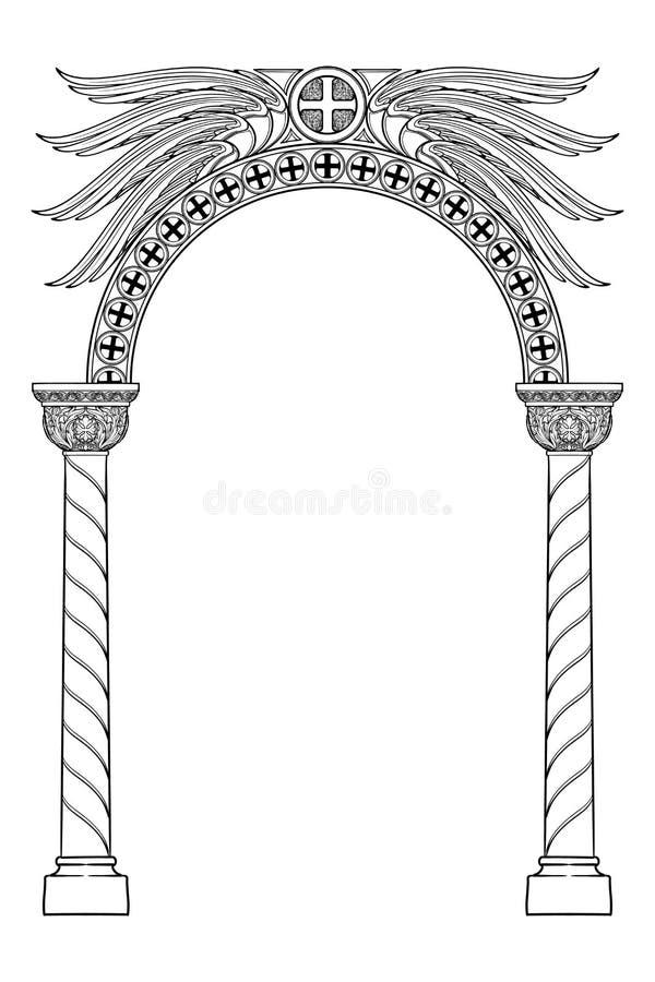 Arco redondo del estilo bizantino medieval temprano stock de ilustración