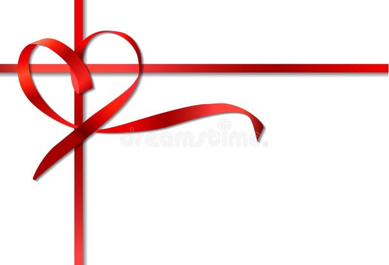 Arco rojo de la cinta del corazón. Vector ilustración del vector