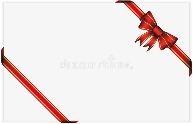 Arco rojo del regalo con las cintas stock de ilustración