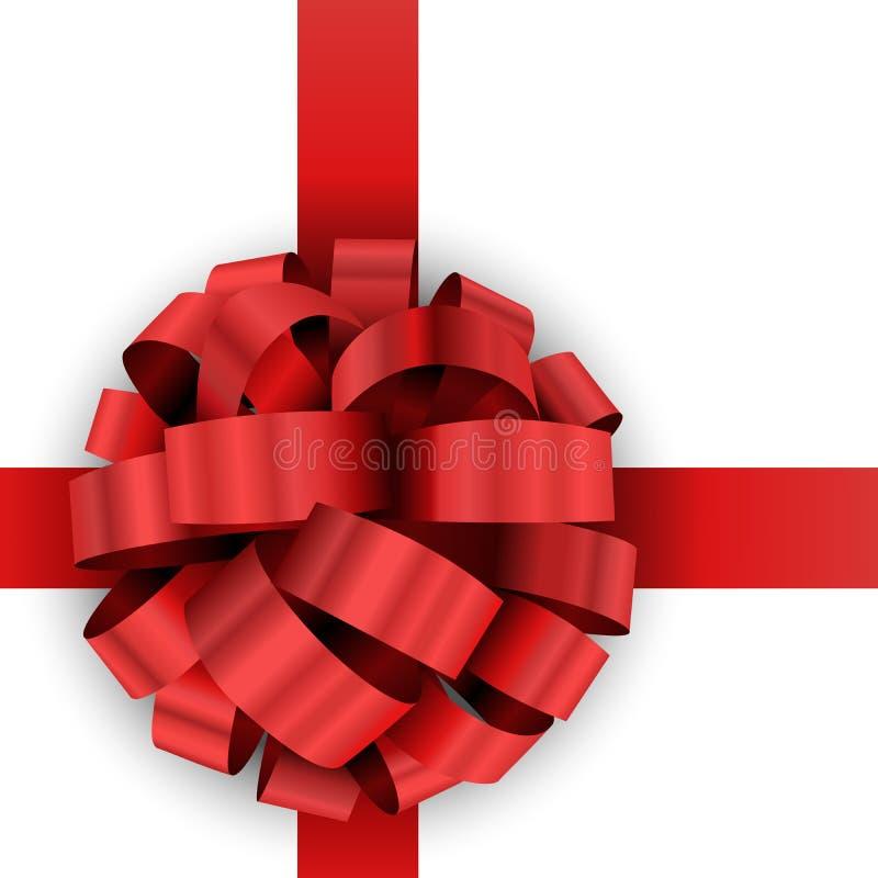 Arco rojo del regalo de Navidad ilustración del vector