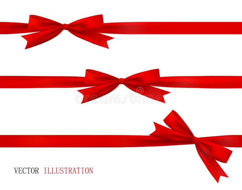 Arco rojo realista y cinta imagenes de archivo