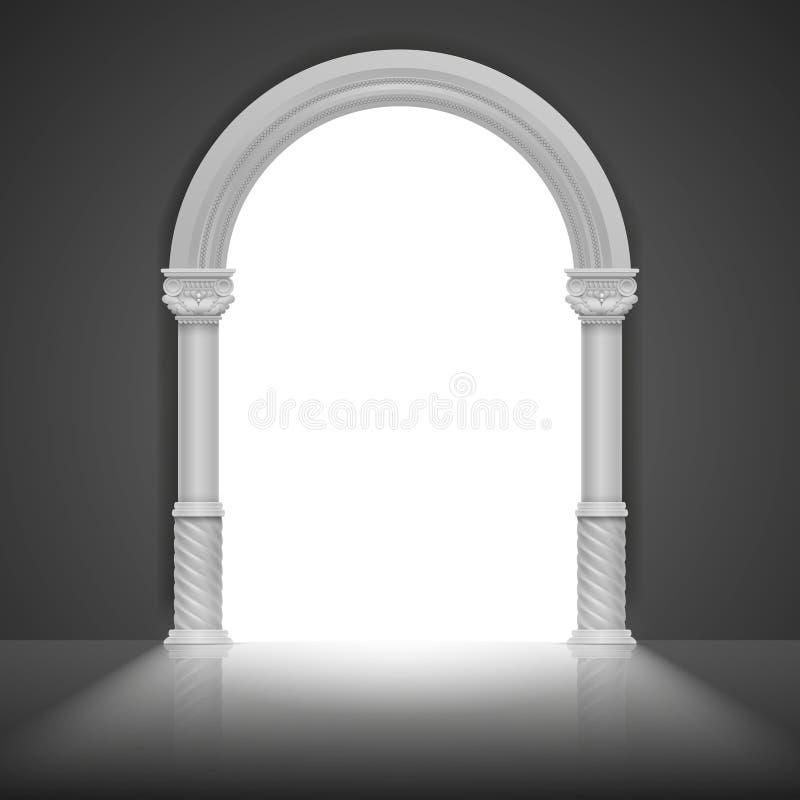Arco romano com coluna antiga Projeto do quadro do título do vetor ilustração do vetor