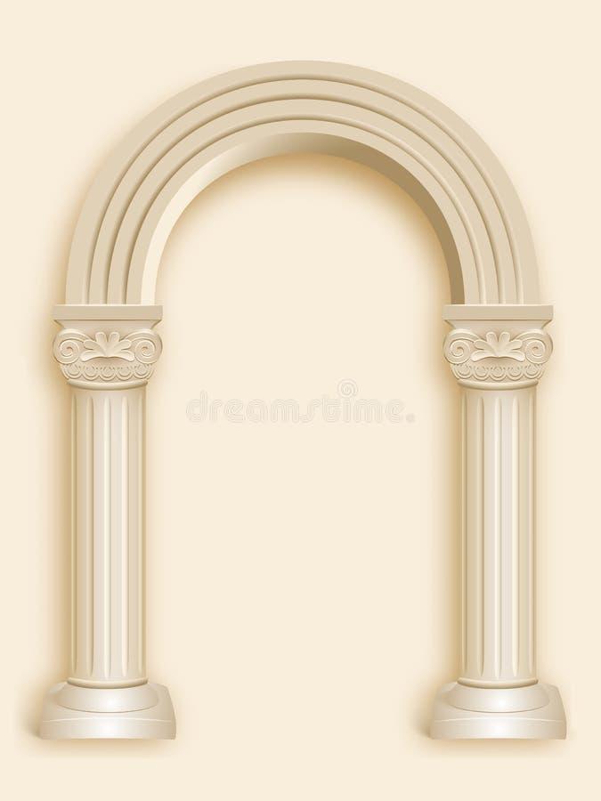 Arco romano do mármore da coluna ilustração stock