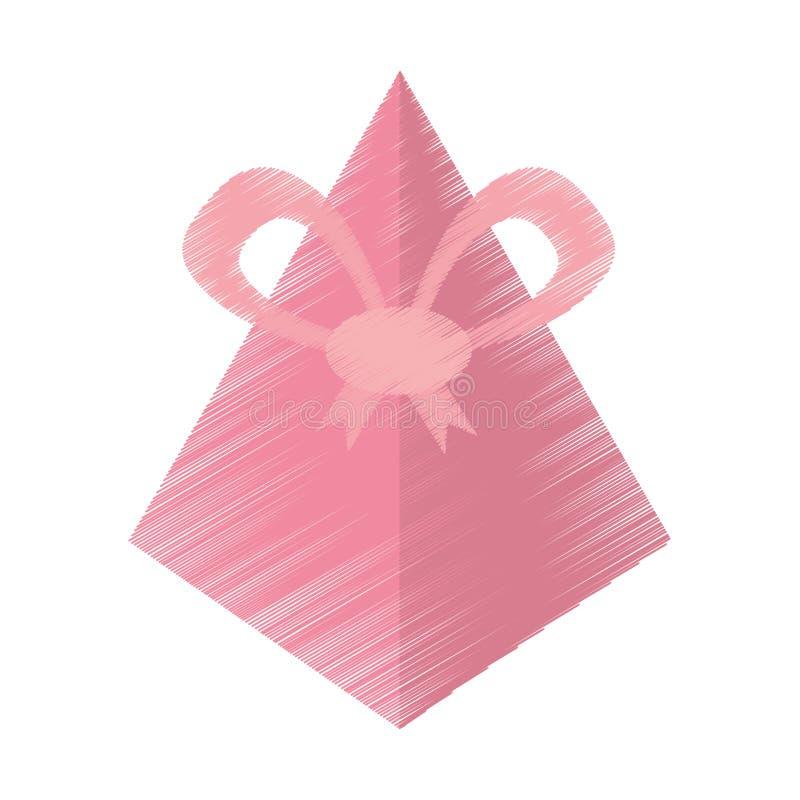 arco rosado de dibujo de la pirámide de la caja de regalo stock de ilustración