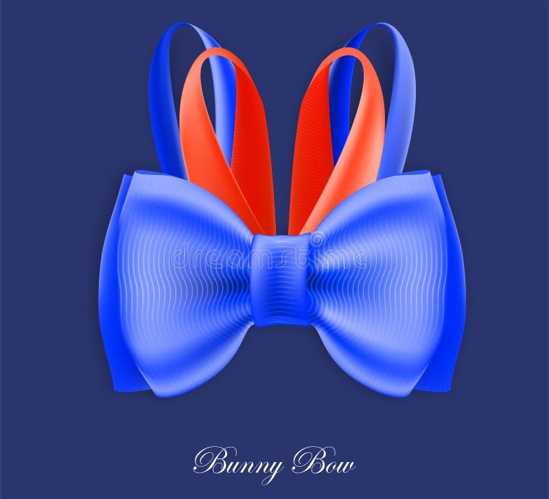 Arco rosso blu di seta del coniglietto di galà illustrazione di stock