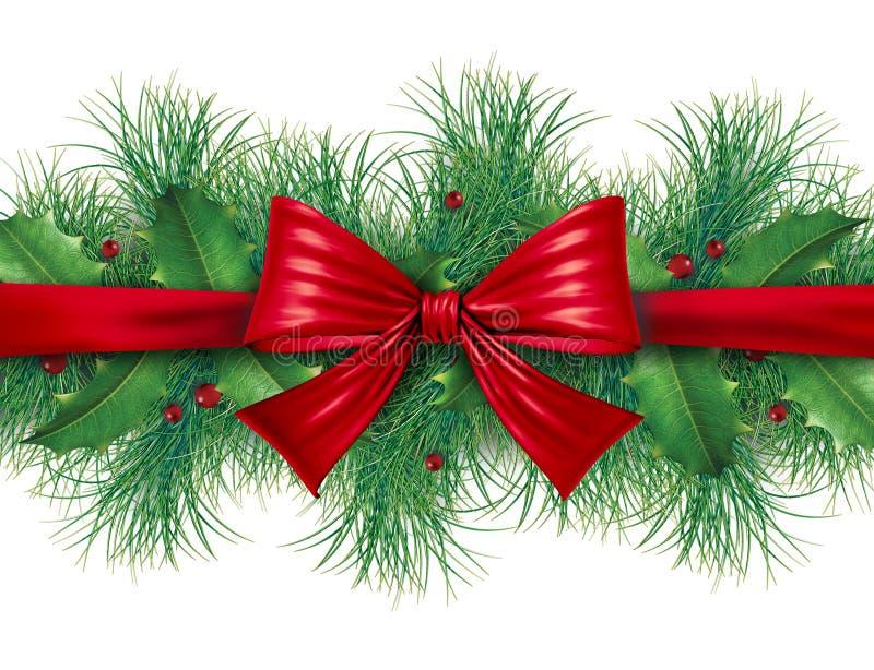 Arco rosso con il bordo del pino royalty illustrazione gratis