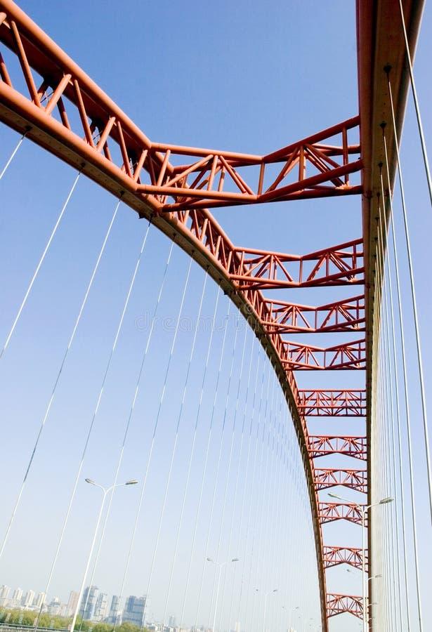 Arco rosso del ponticello fotografia stock libera da diritti