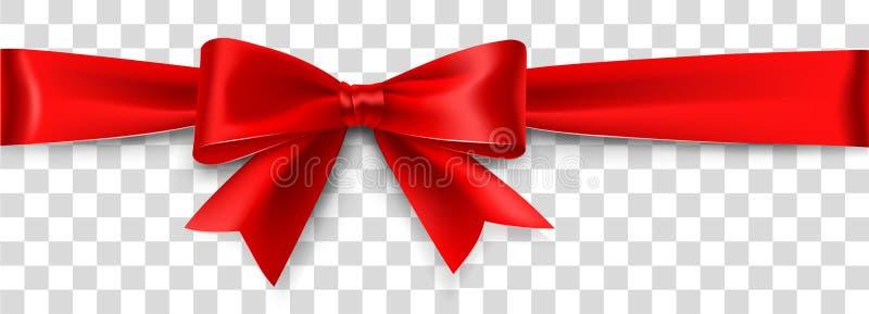 Arco rosso del raso isolato su fondo Illustrazione di vettore royalty illustrazione gratis