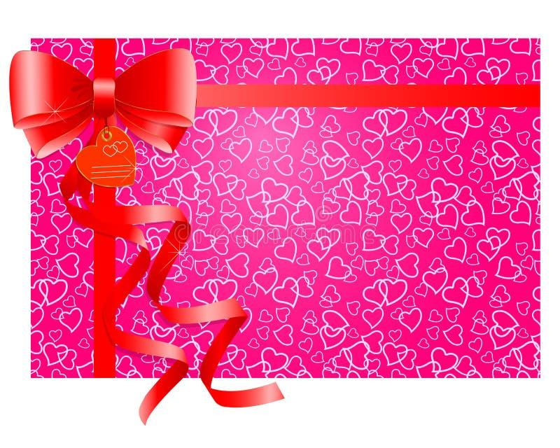 Arco rosso del regalo con i nastri. illustrazione di stock