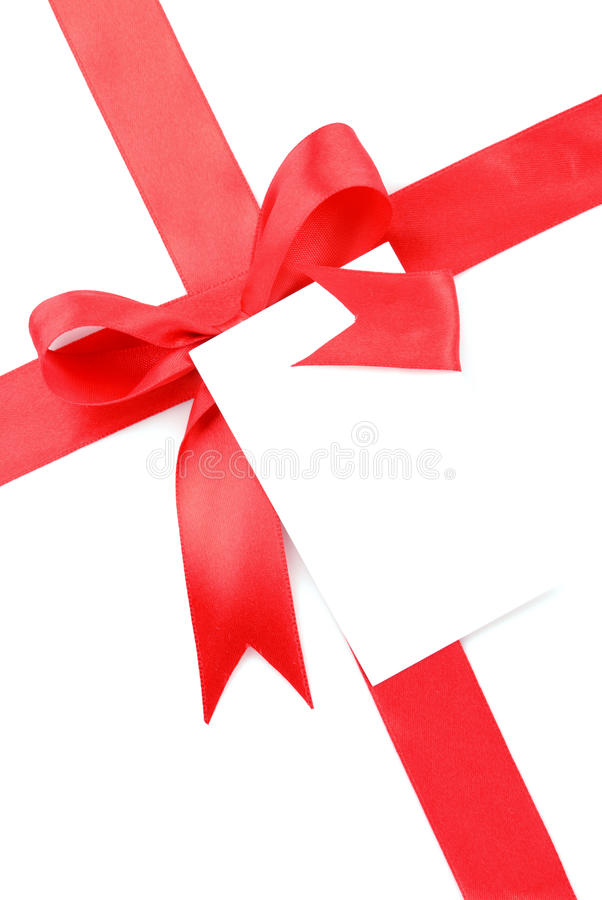 Arco rosso del regalo con la scheda in bianco fotografia stock