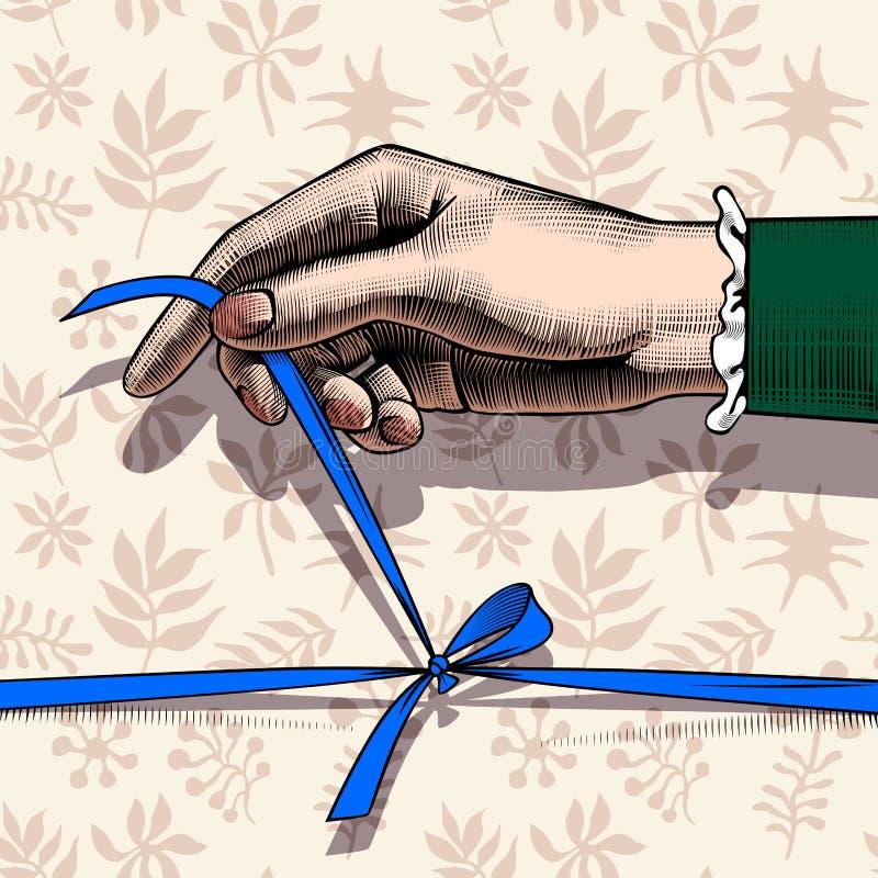 Arco sciogliente della mano del ` s della donna del nastro blu royalty illustrazione gratis