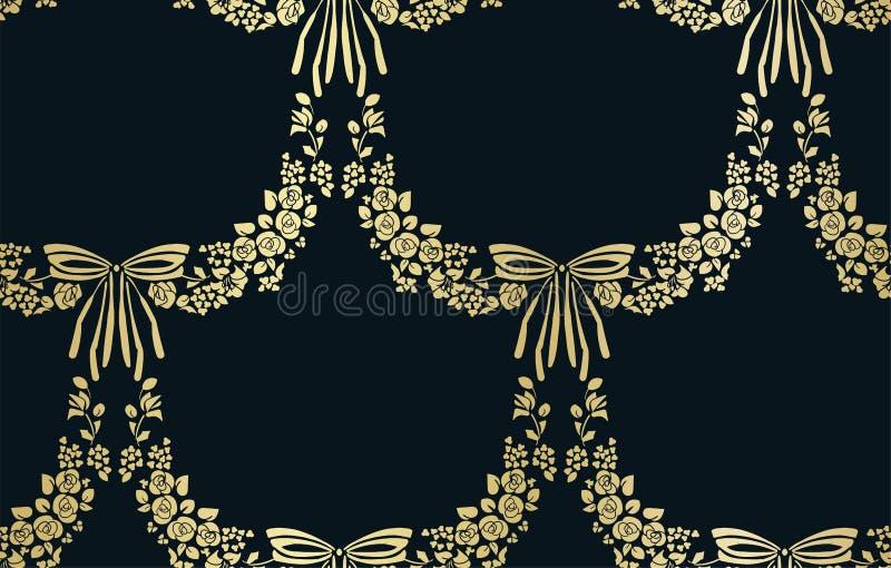 Arco senza cuciture del modello di vettore del damasco del fiore di vettore royalty illustrazione gratis