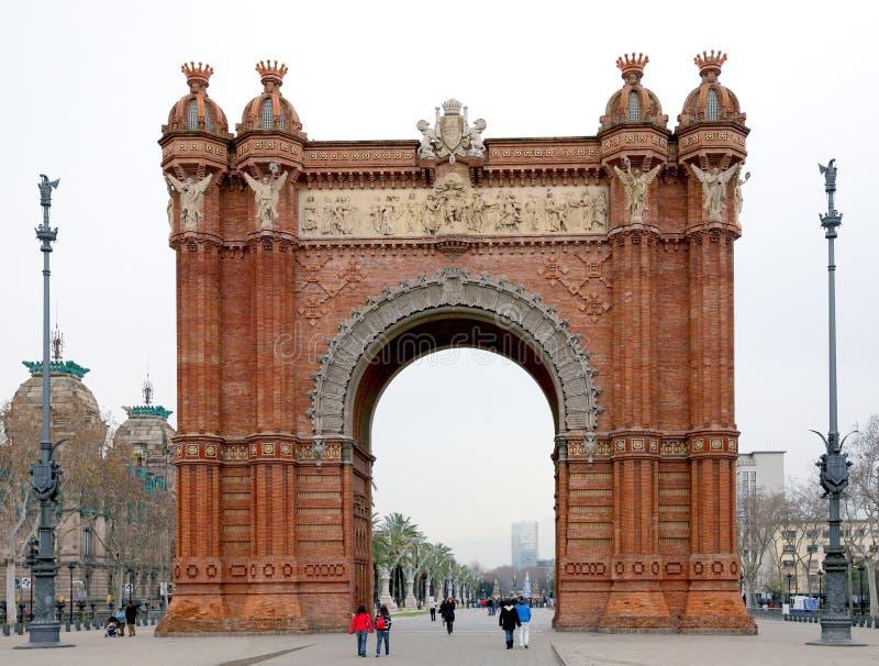 Arco trionfale a Barcellona, Spagna fotografia stock