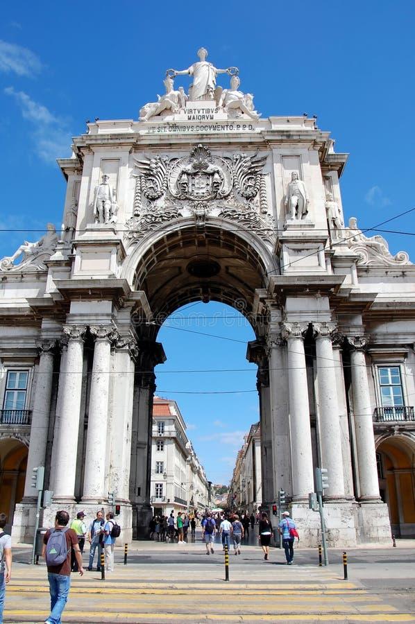 Arco trionfale a Lisbona fotografia stock libera da diritti