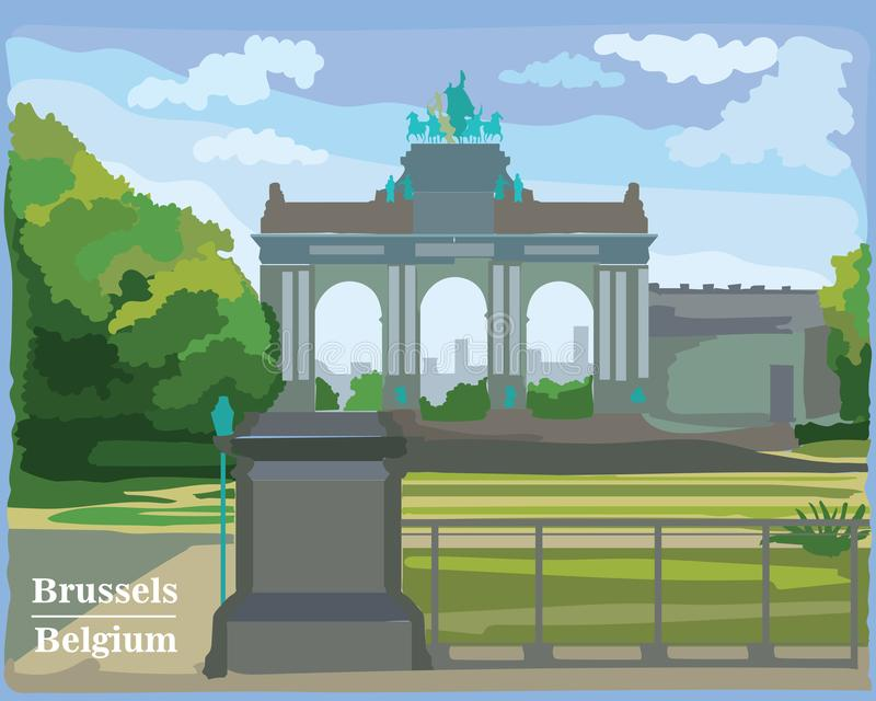 Arco trionfale variopinto nel parco a Bruxelles royalty illustrazione gratis