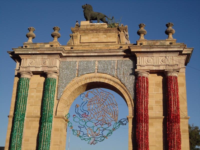 Arco triunfal de Leon Guanajuato imagem de stock