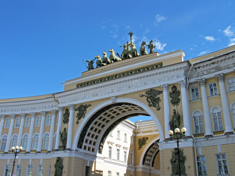 Arco triunfal del estado mayor general, St Petersburg foto de archivo