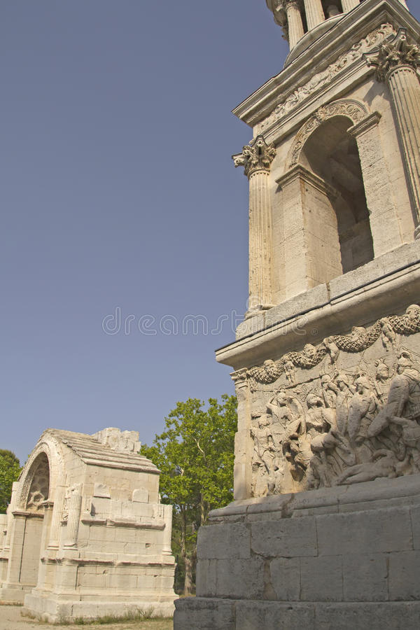 Arco triunfal em Glanum. (France) fotos de stock