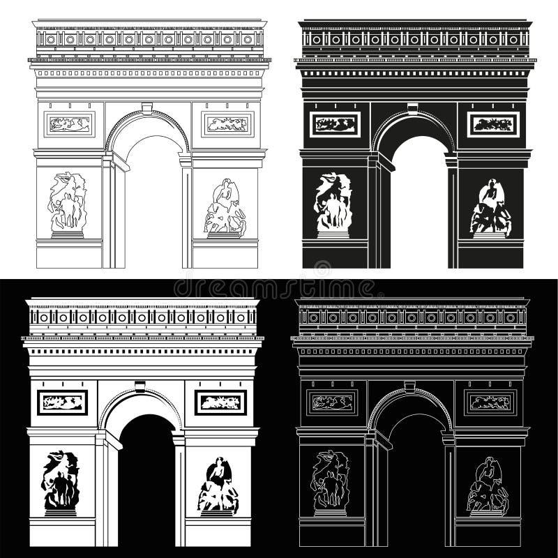 Arco triunfal em preto e branco ilustração royalty free