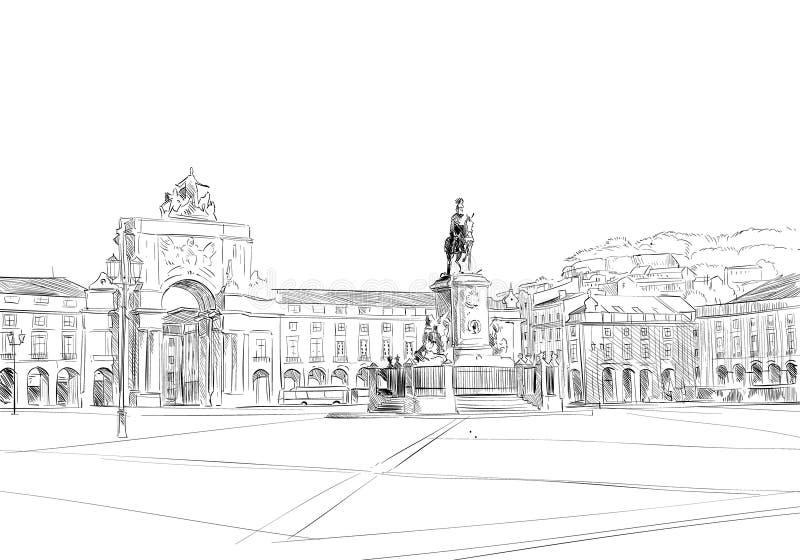 Arco triunfal en el Rua Augusta El ¡de Prasà hace Comercio lisboa portugal europa Ilustración drenada mano del vector libre illustration