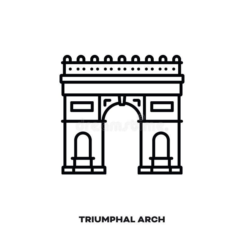 Arco triunfal linha ícone do vetor em Paris, França ilustração royalty free