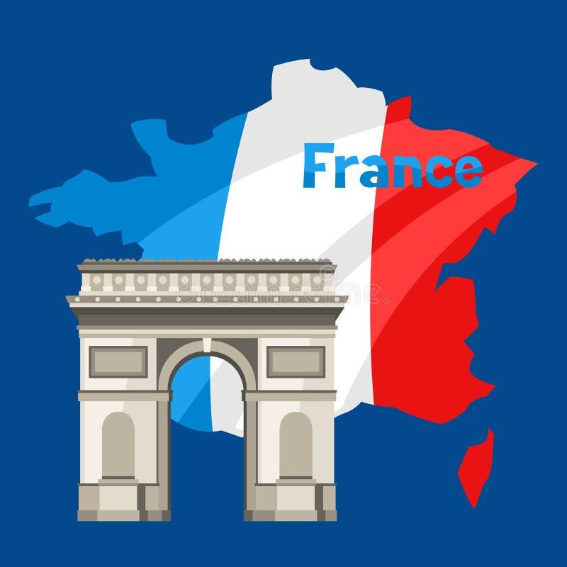 Arco triunfal no mapa de França ilustração stock