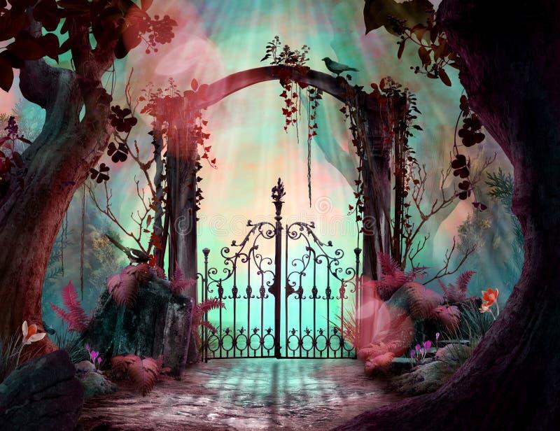 Arco in un paesaggio incantato del giardino con i grandi vecchi alberi illustrazione di stock