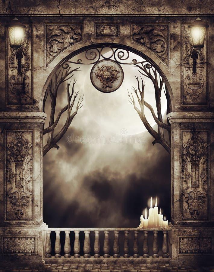 Arco velho com lâmpadas e velas ilustração royalty free