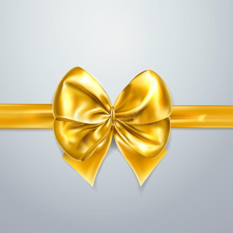 Arco y cinta del oro Seda, satén u hoja Elemento de la decoración del embalaje Ejemplo realista del día de fiesta del vector 3d E stock de ilustración