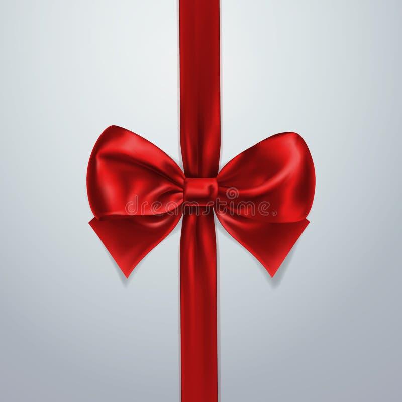 Arco y cinta rojos Seda, satén u hoja Elemento de la decoración del embalaje Ejemplo realista del día de fiesta del vector 3d Ext libre illustration