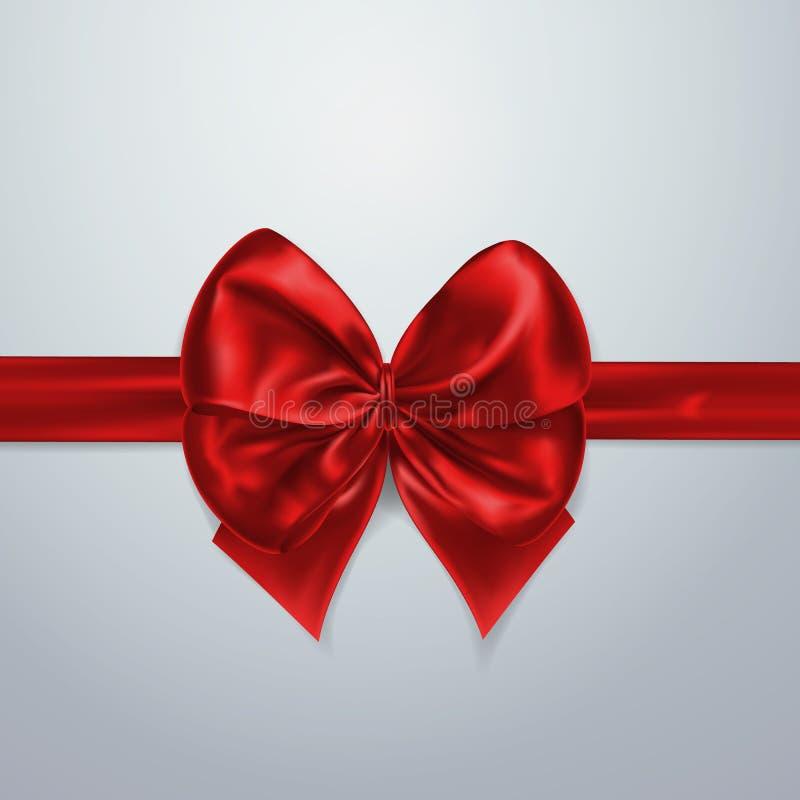 Arco y cinta rojos Seda, satén u hoja Elemento de la decoración del embalaje Ejemplo realista del día de fiesta del vector 3d Ext stock de ilustración