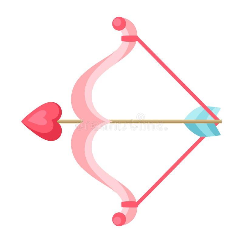 Arco y flecha del cupido con el corazón stock de ilustración
