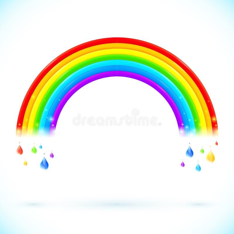 Arcobaleni isolati luminosi di vettore con le gocce di colore illustrazione vettoriale
