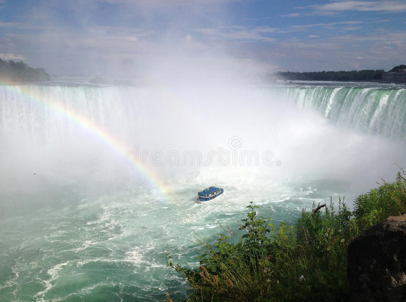 Arcobaleno Alle Cadute A Ferro Di Cavallo, Cascate Del Niagara Fotografia Editoriale