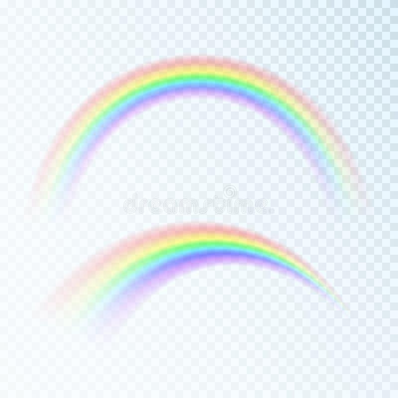 Arcobaleno astratto di colore Spettro di luce, sette colori Illustrazione di vettore isolata su fondo trasparente illustrazione di stock