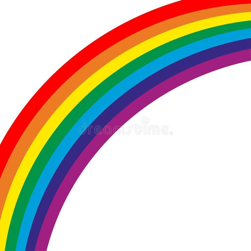 Arcobaleno colourful su fondo vuoto curvo verso il basso illustrazione vettoriale