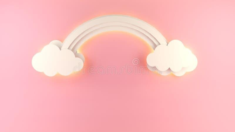 Arcobaleno creativo e nuvole del od dell'illustrazione su fondo rosa fotografia stock
