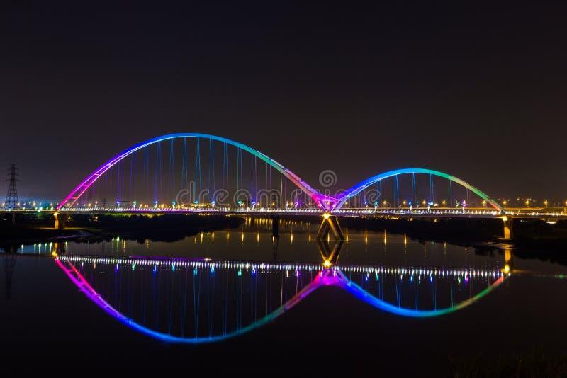 Arcobaleno del ponte della nuova luna piacevole immagini stock libere da diritti