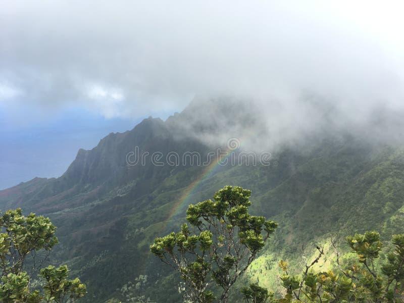 Arcobaleno della costa del Na Pali con nebbia fotografia stock libera da diritti
