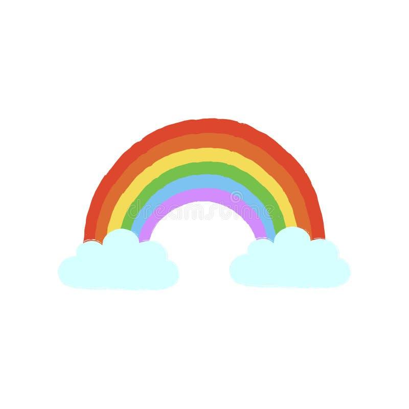Arcobaleno luminoso disegnato a mano con le nuvole per il concetto dovuto alle condizioni atmosferiche o Gay Pride, LGBT o edizio illustrazione vettoriale