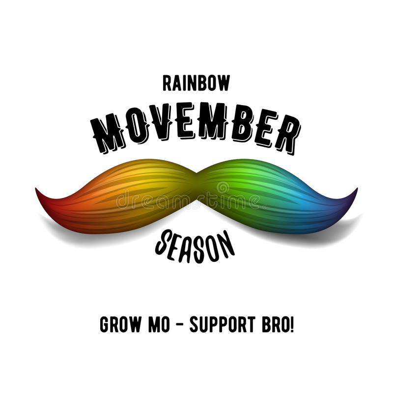 Arcobaleno Movember - mese di consapevolezza del carcinoma della prostata Concetto di salute del ` s degli uomini illustrazione di stock