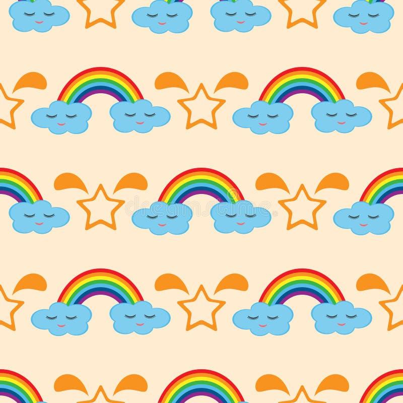 Arcobaleno, nuvole con gli occhi e sorriso, stelle della siluetta Reticolo senza giunte royalty illustrazione gratis