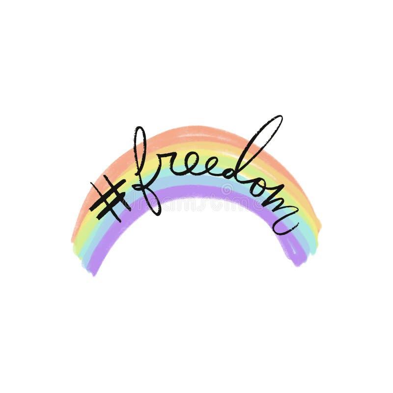 Arcobaleno pastello e testo di LGBT Colori disegnati a mano dell'arcobaleno Concetto di amore e di libertà royalty illustrazione gratis