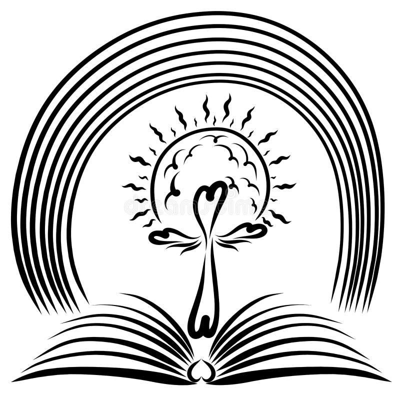 Arcobaleno sopra un libro aperto con un incrocio e un sole illustrazione vettoriale